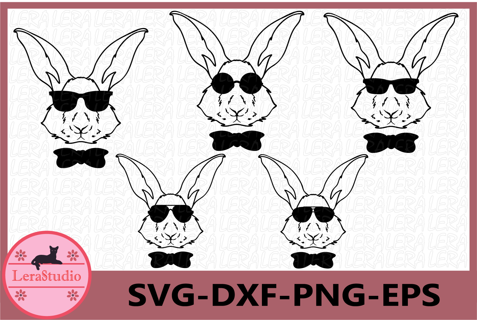 Happy Easter Svg, Boy Bunny SVG, Bunny Svg, Glasses Svg example image 1