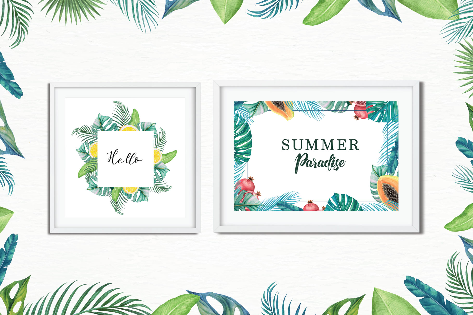 Tropical Collection - 65 Watercolor Elements example image 5