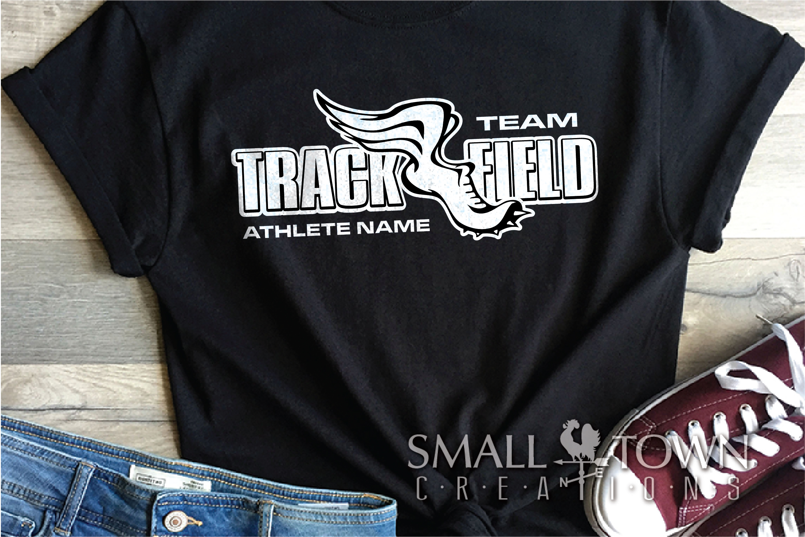 Track and Field, Team logo, Winged shoe, PRINT, CUT & DESIGN example image 1