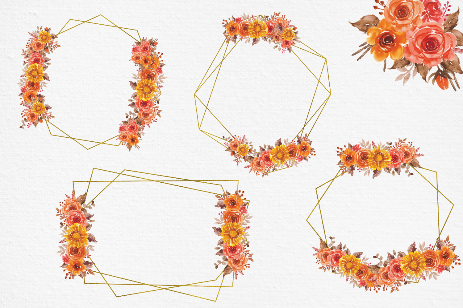 Fall Flowers Watercolor Frames, Geometric Gold Frames example image 8