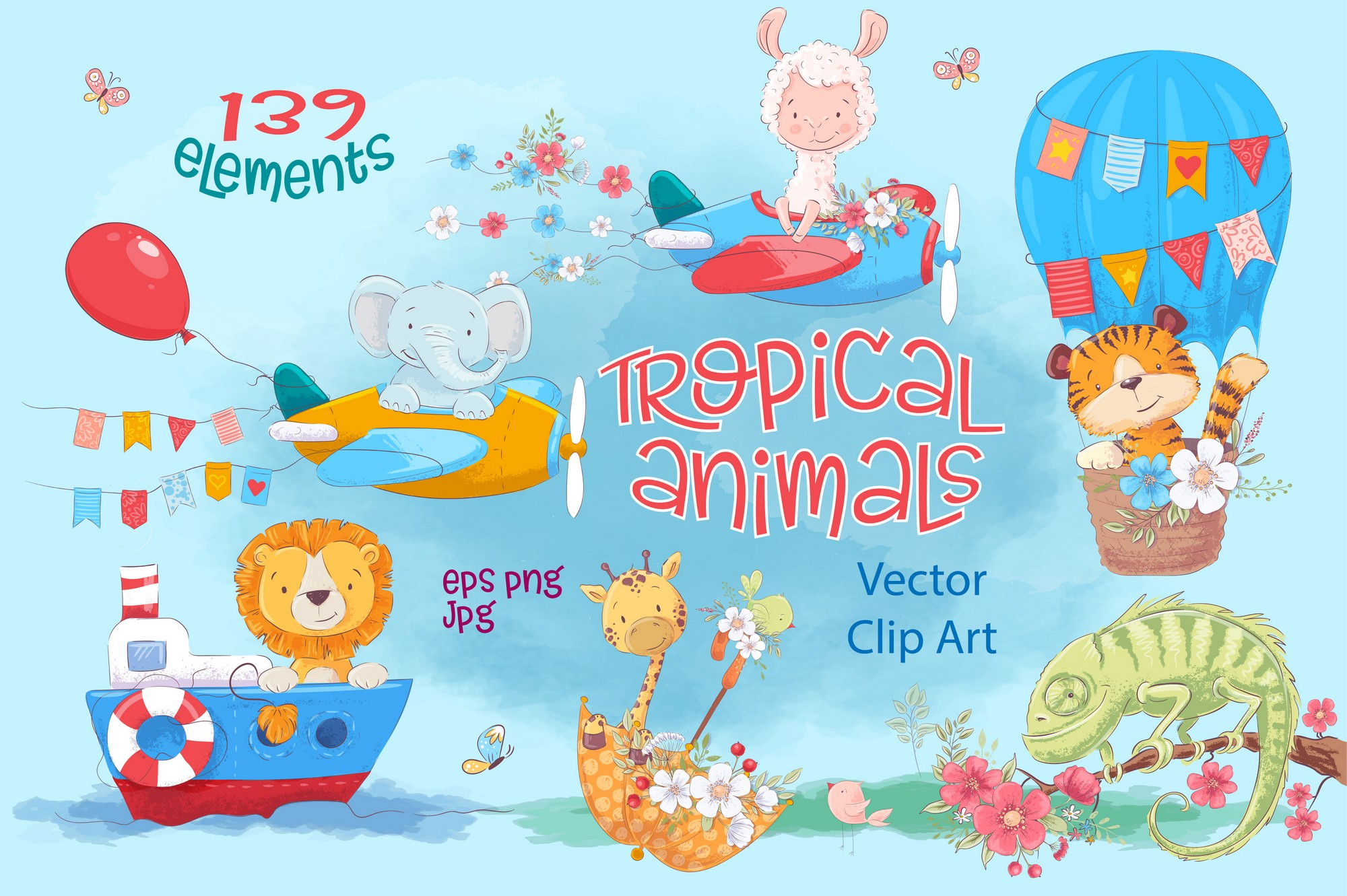 Tropical animals vector clip art example image 1