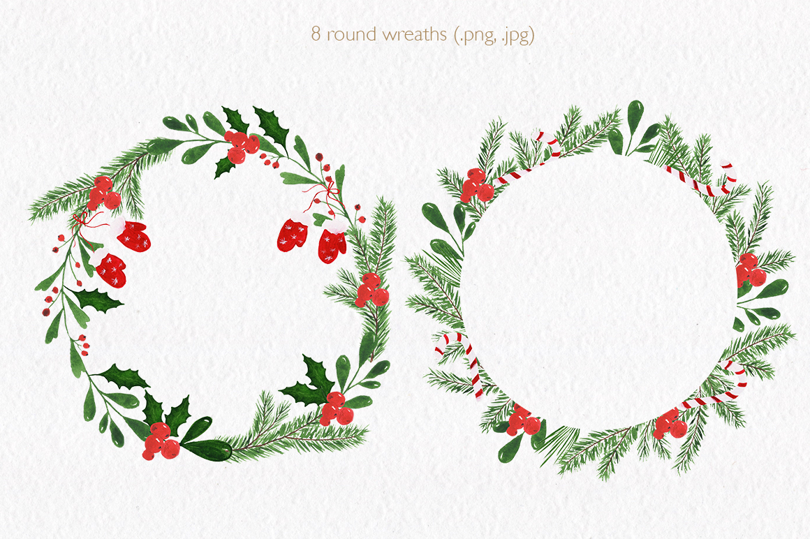 Christmas watercolor collection. Hand drawn illustrations. example image 2