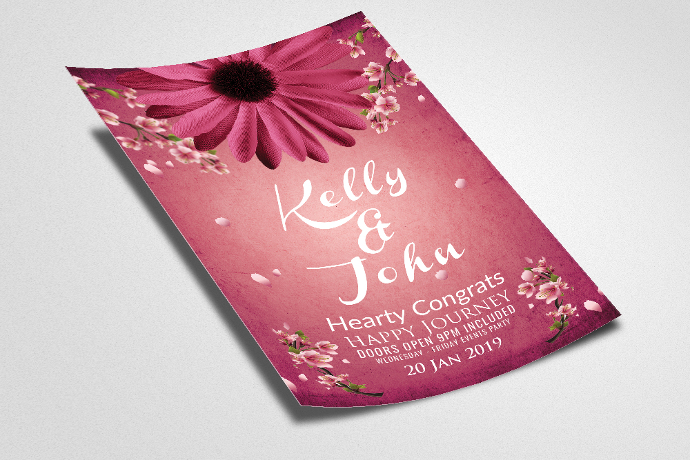 Floral Wedding Invitation Flyer Template example image 2