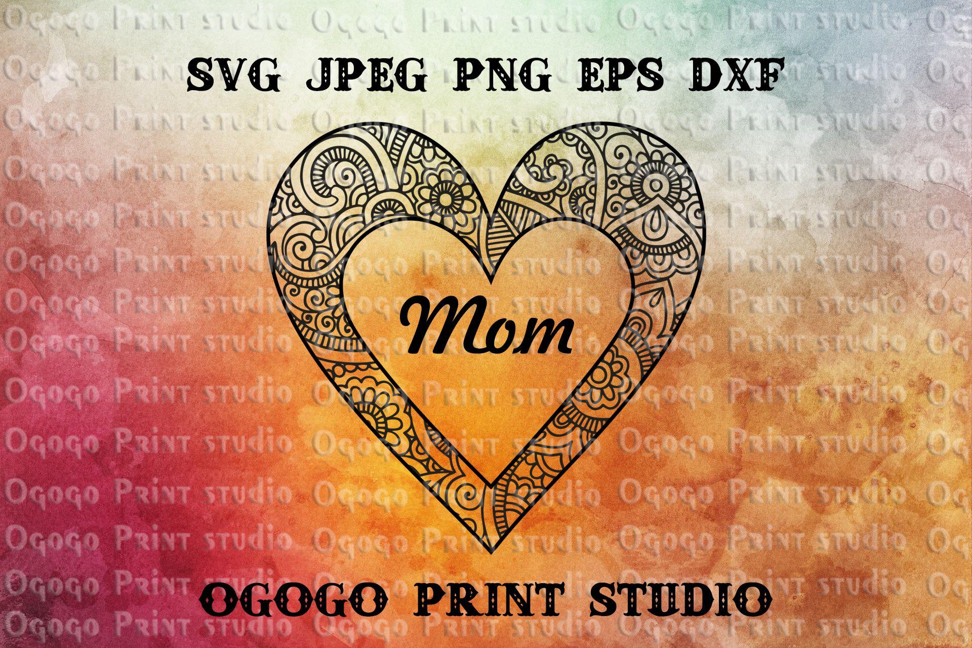Heart SVG, Zentangle SVG, Mothers day svg, Mandala svg example image 2