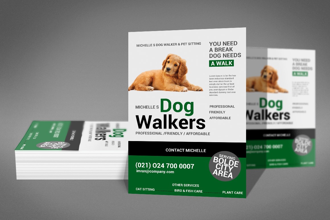 Dog Walker Flyer Template example image 2
