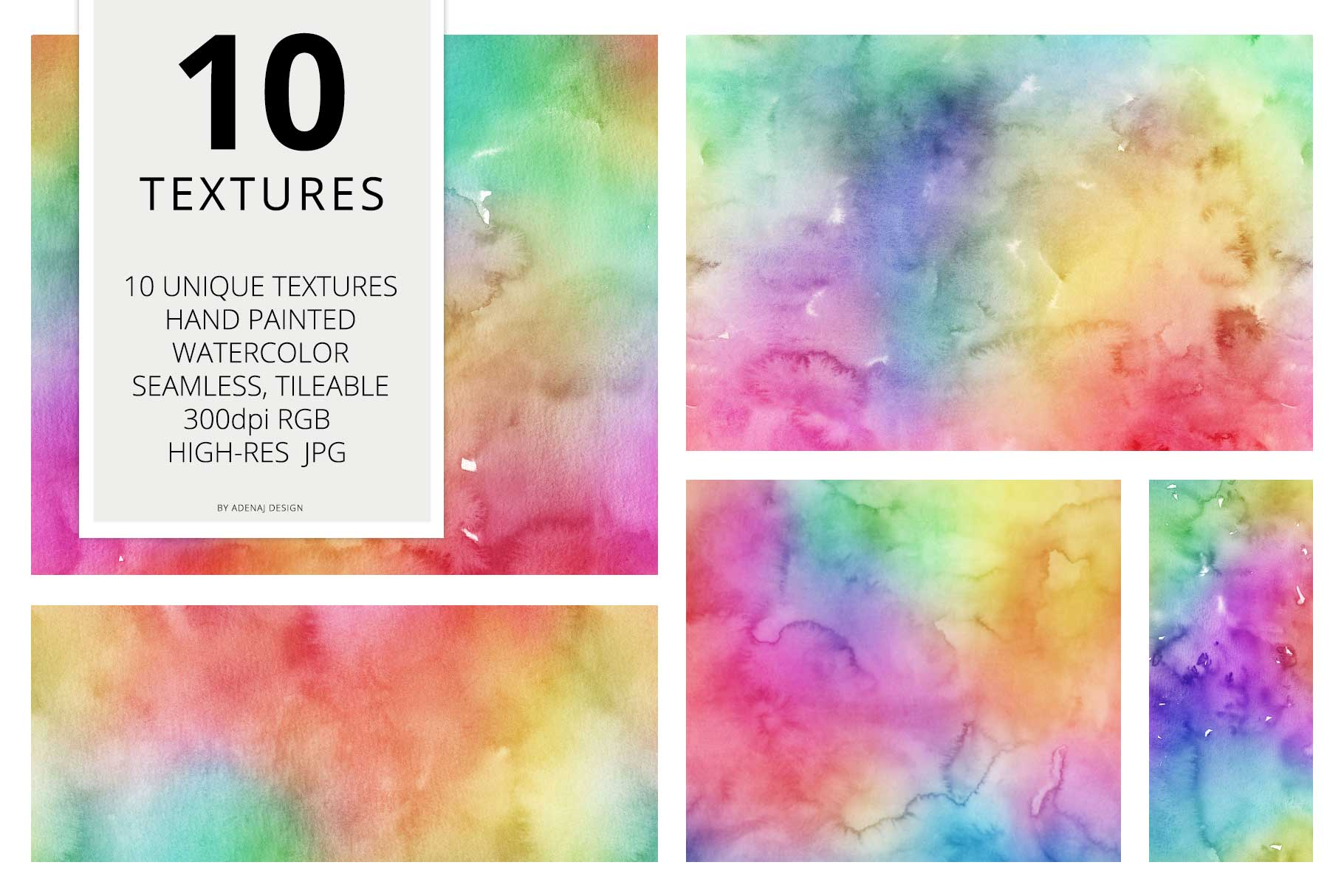 10 Huge Seamless Rainbow Watercolor Textures example image 2