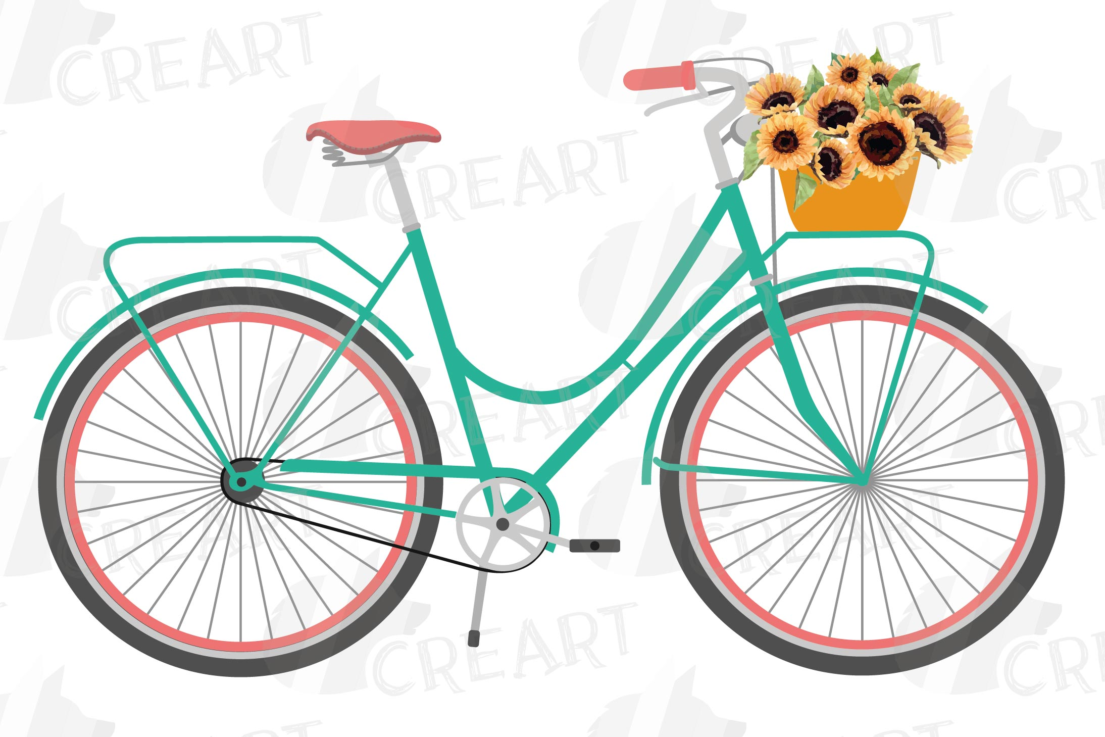 Sunflower bouquets bicycles clip art. Floral bikes decor png example image 7