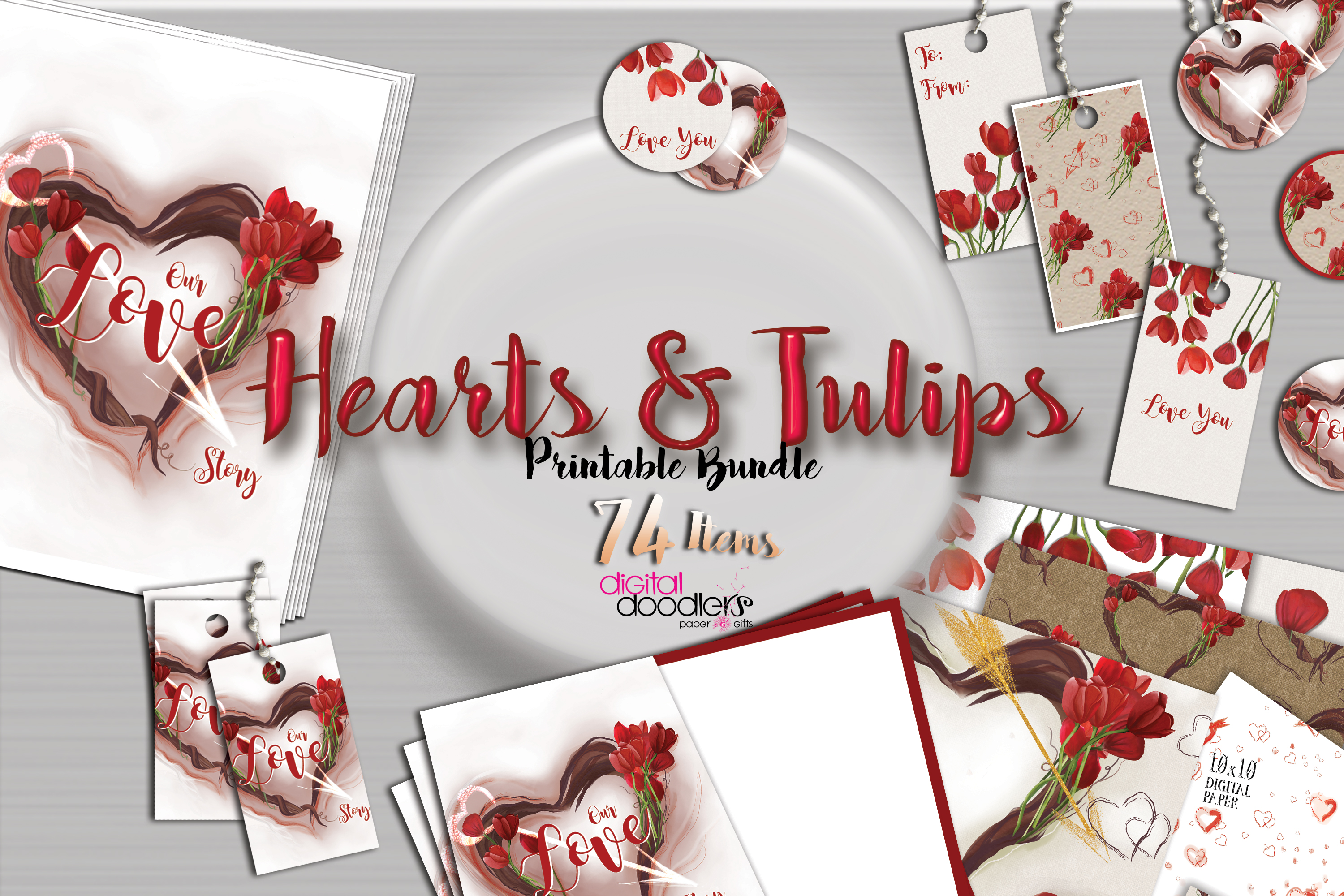 Hand Painted Hearts & Tulips Bundle example image 6