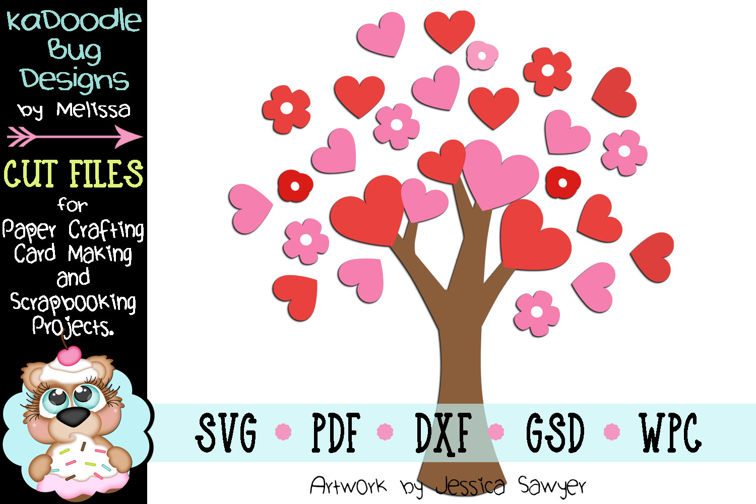 Valentine Heart Tree Cut File - SVG PDF DXF GSD WPC example image 1