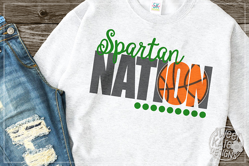 Spartan Nation with Knockout Basketball SVG DXF EPS PNG JPG example image 1