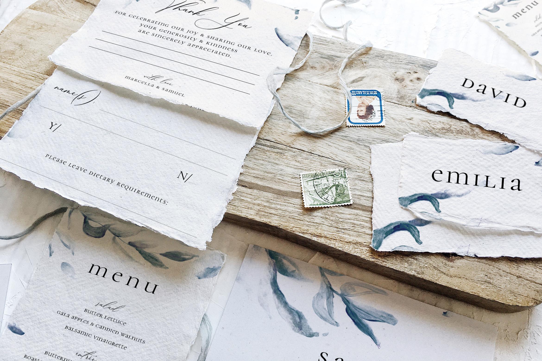 Elegant Blue Watercolor Sprig Wedding Suite example image 7