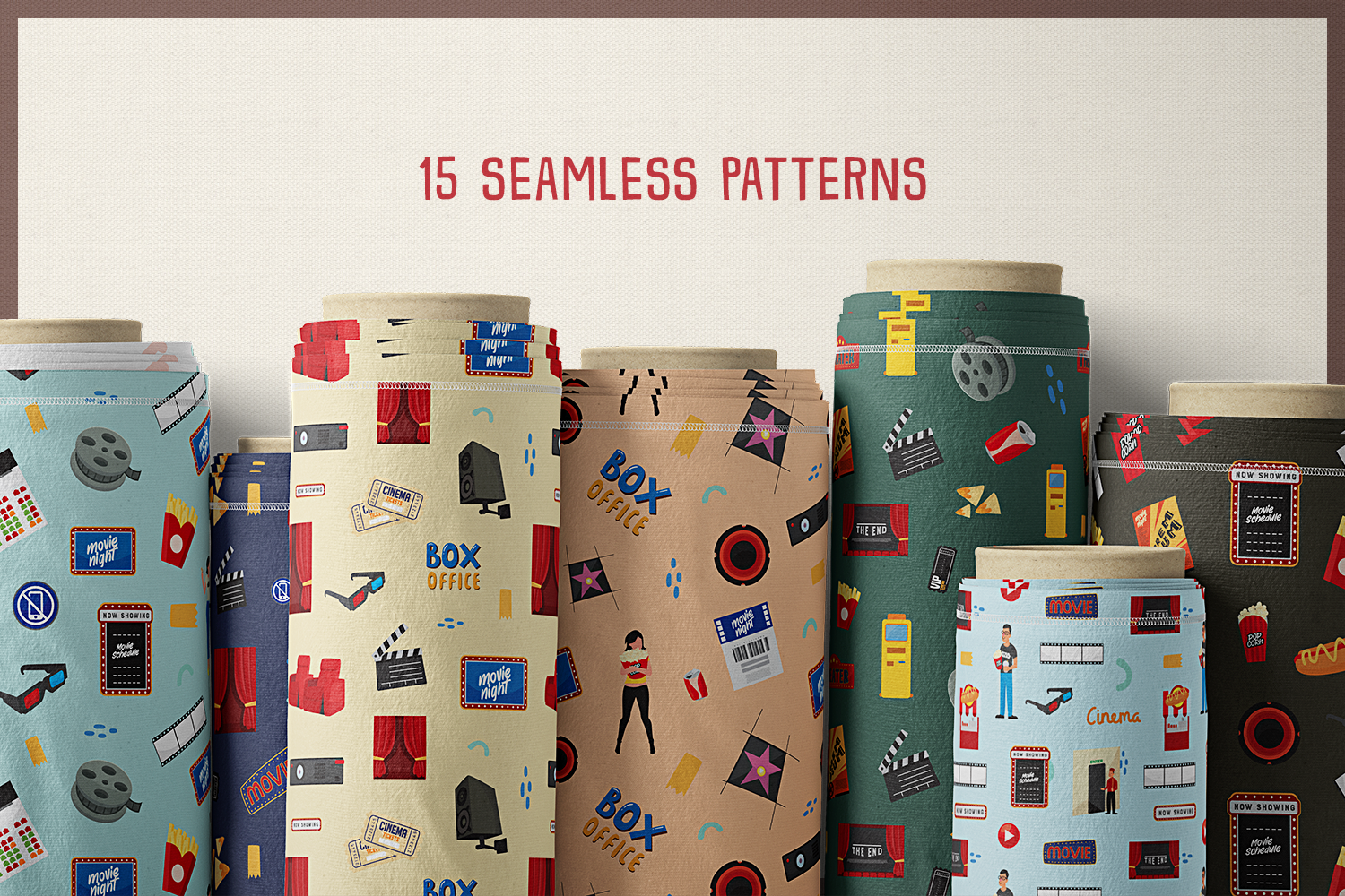 Movie & Cinema Vector Clipart and Seamless Patterns example image 7