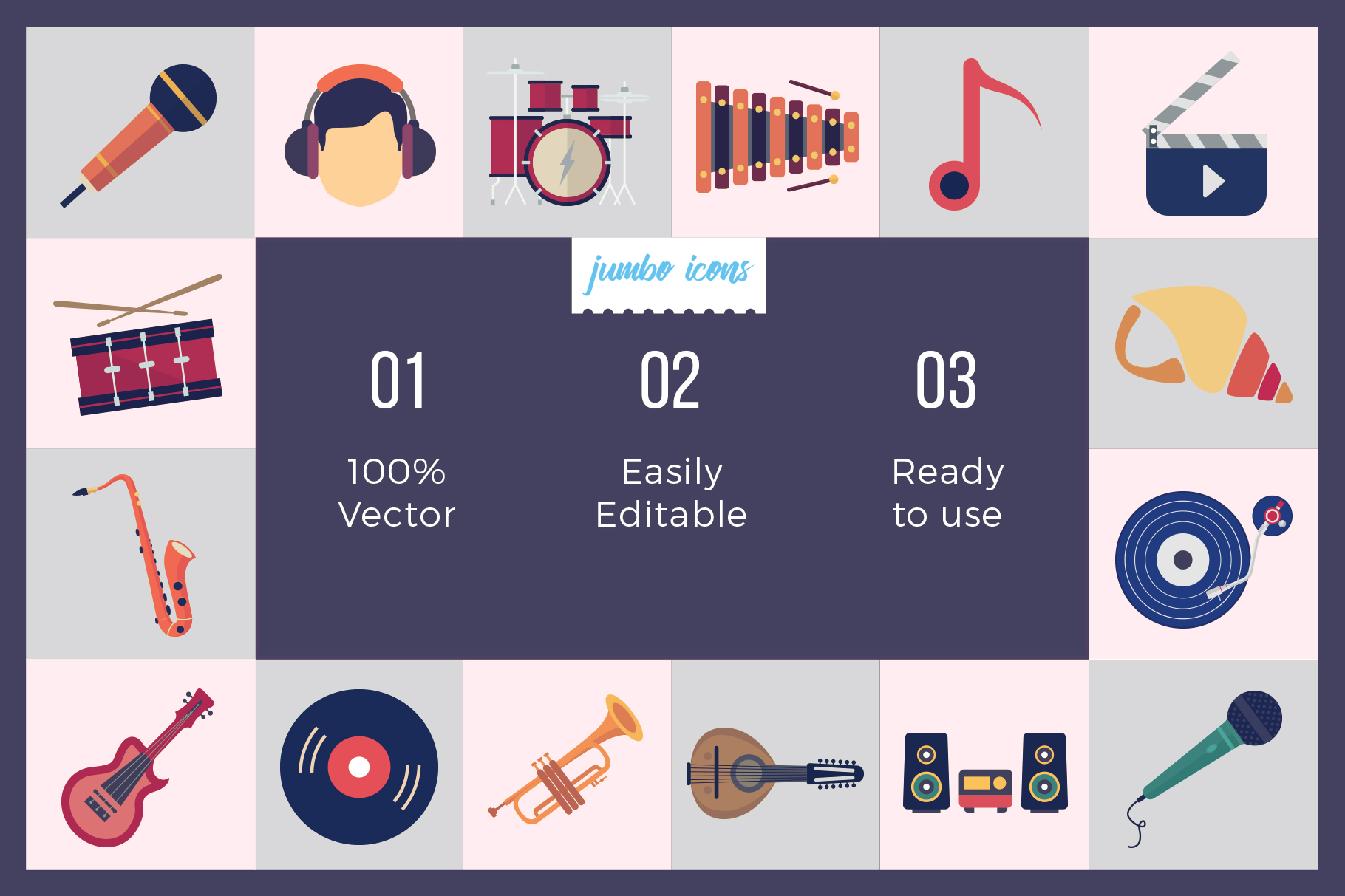 Flat Vector Icons Music Pack V2 example image 3