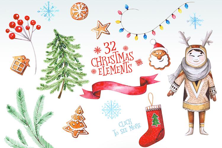 Christmas Watercolor Set example image 9