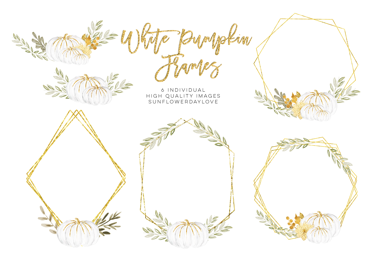 white pumpkin wreath, Fall watercolor wreath example image 3