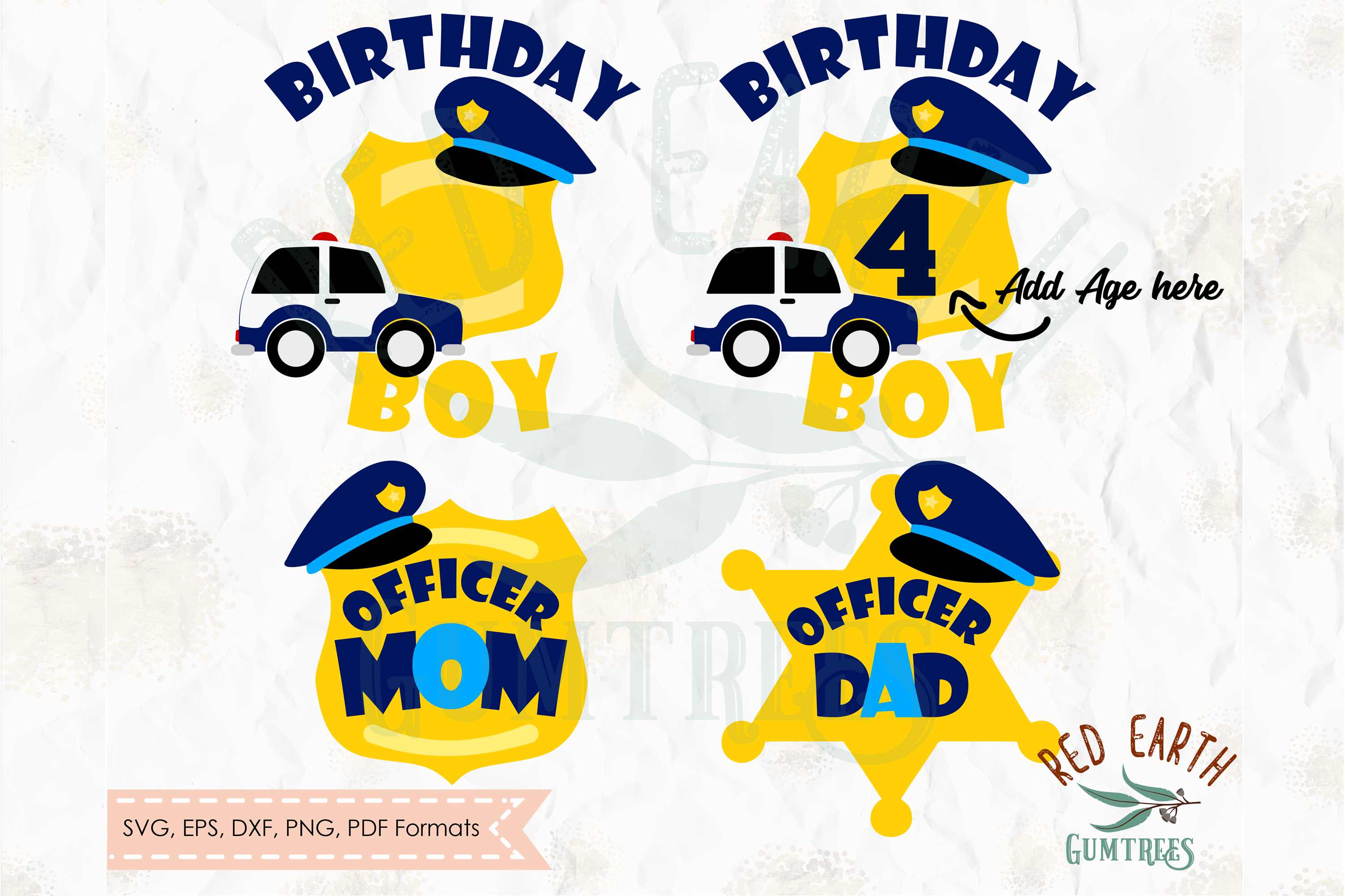Policeman birthday theme, police officer in SVG,DXF,PNG,EPS example image 1
