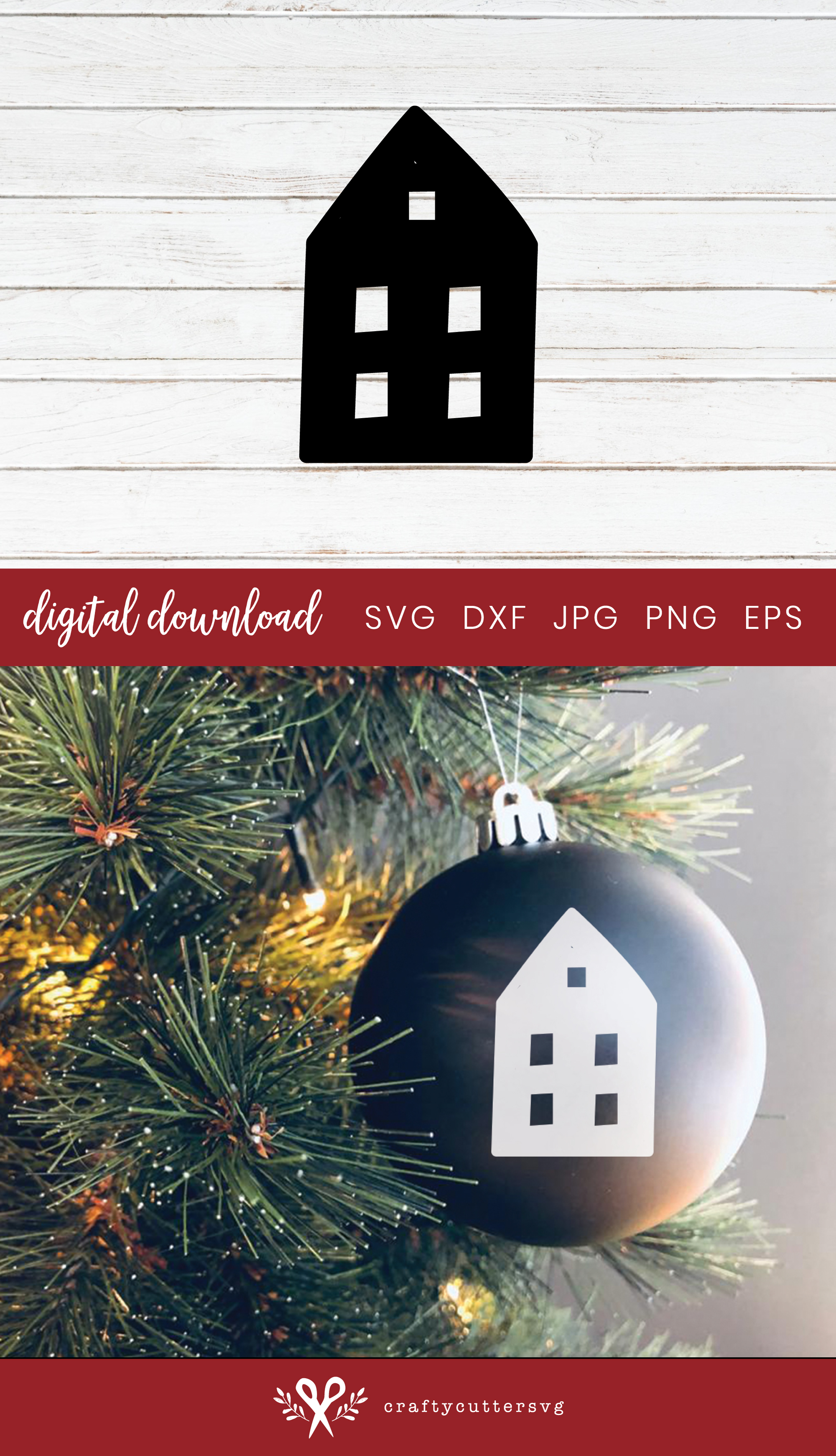 Christmas Decoration House Cut File Bell Clipart example image 3