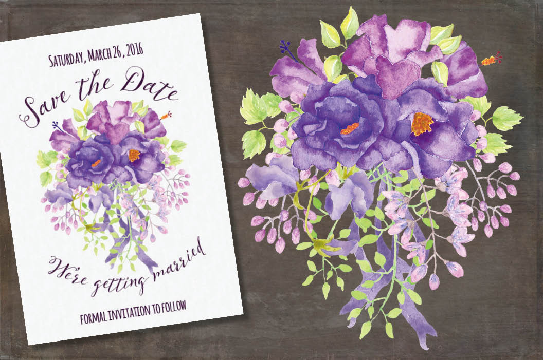 Purple floral sprays in watercolors example image 5