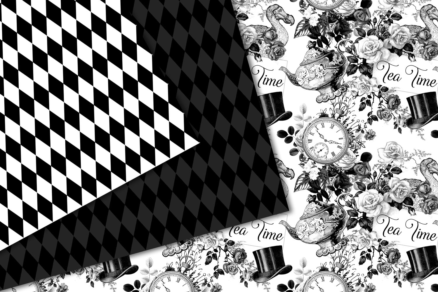 Black and White Alice in Wonderland Graphics example image 6