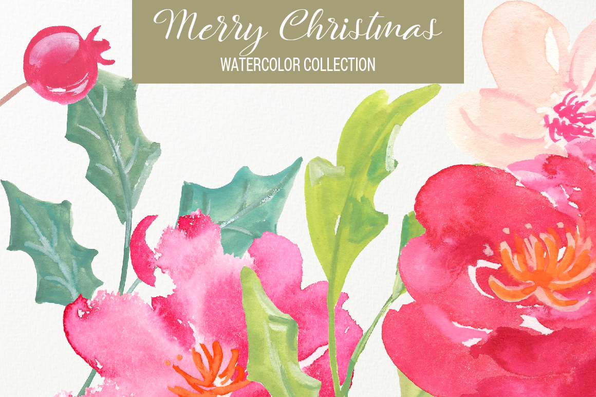 Merry Christmas Watercolor Collection example image 3