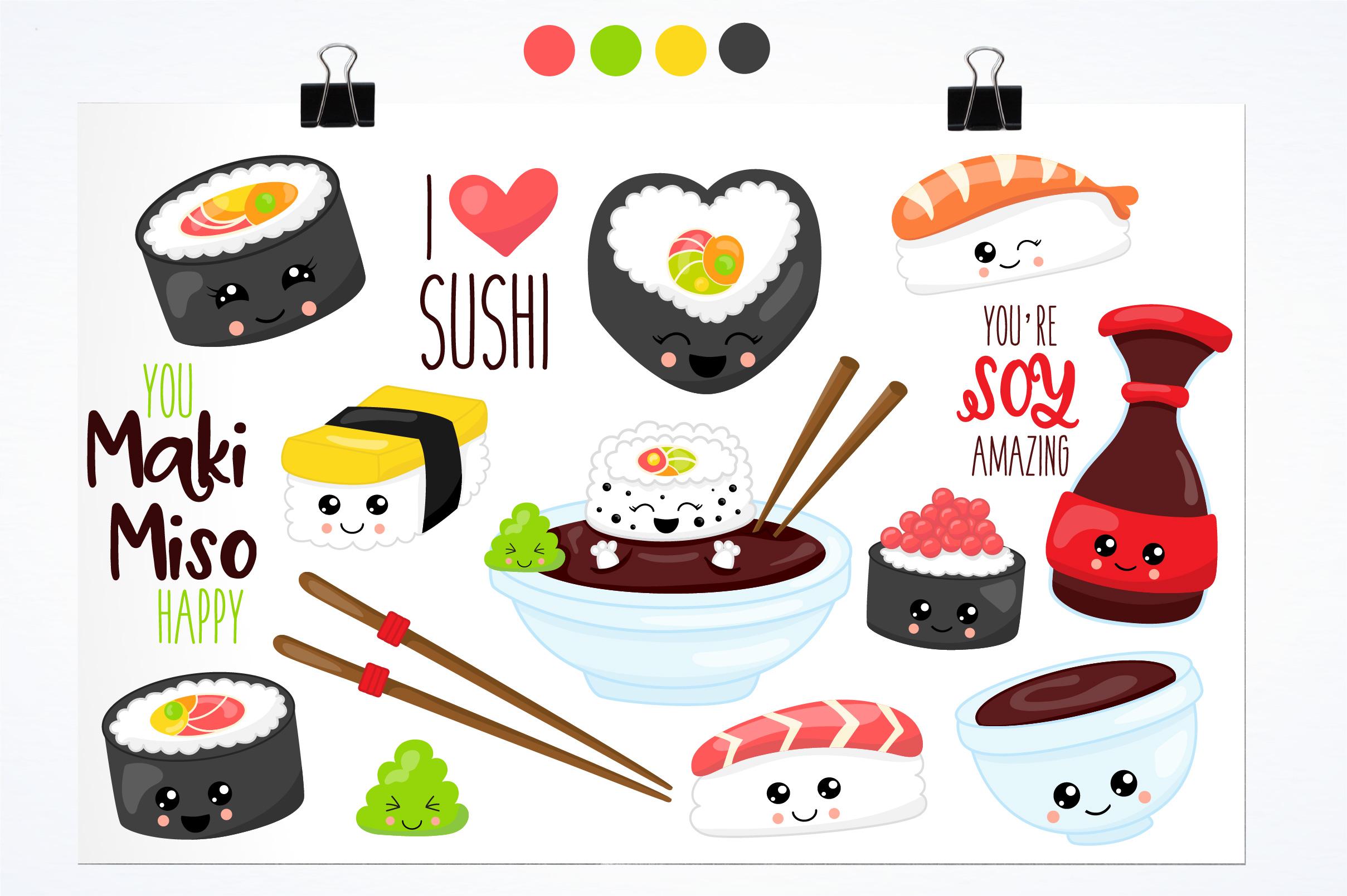 Kawaii sushi graphics and illustrations example image 2
