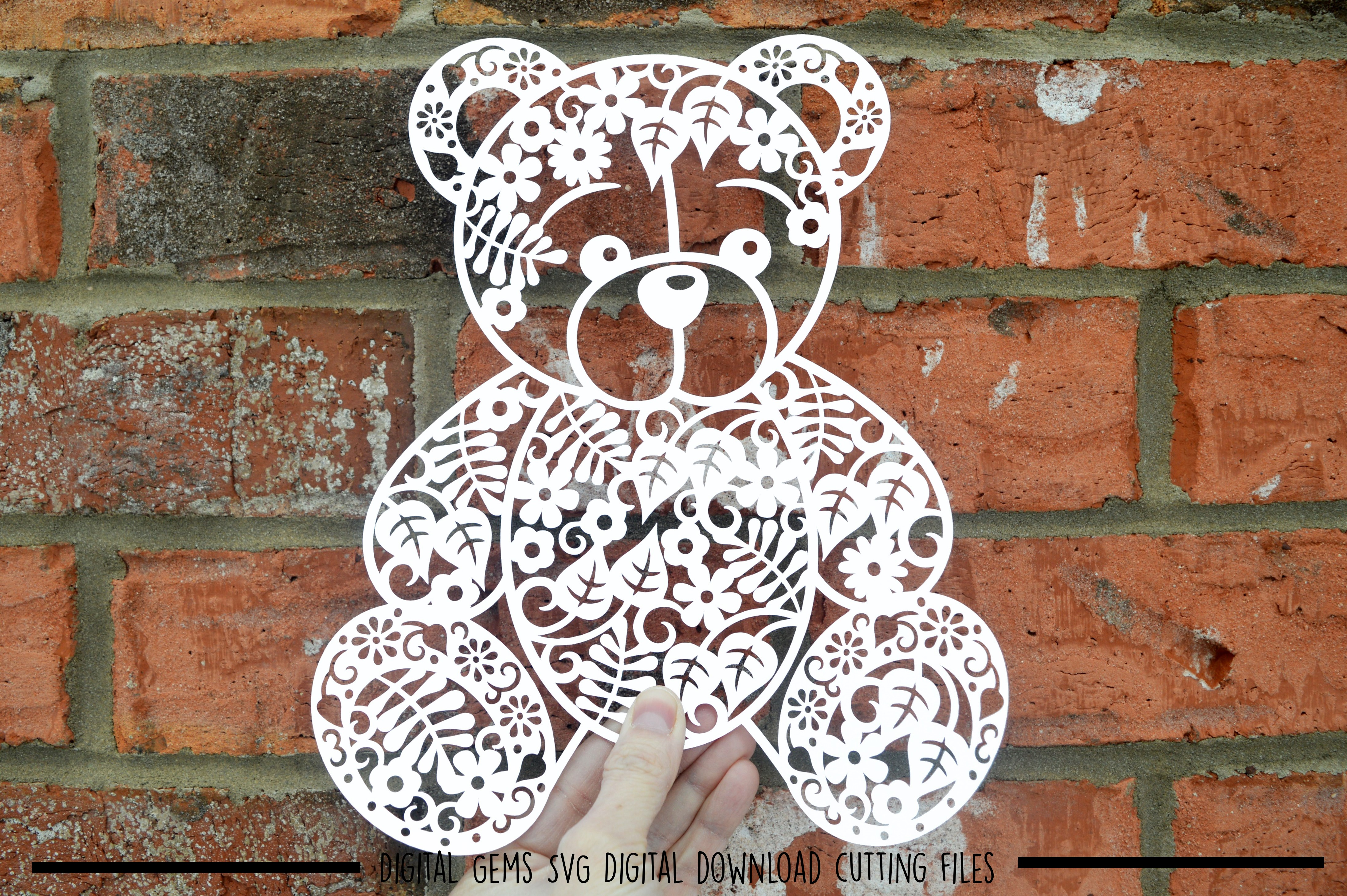 Teddy Bear paper cut SVG / DXF / EPS / PNG files example image 1