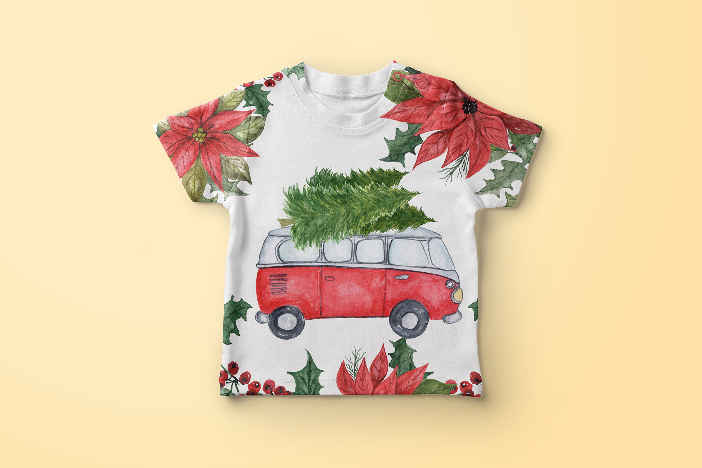 Watercolor Christmas Cars clipart example image 4