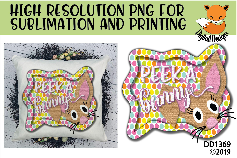 Peeking Easter Bunny Sublimation Printable example image 1