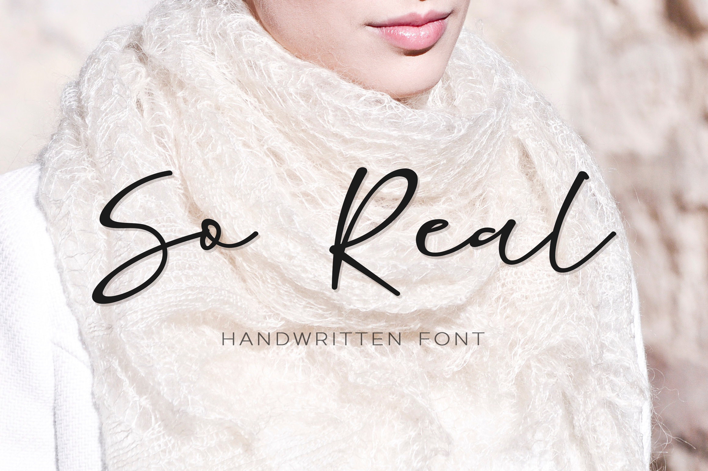 So Real - handwritten thin calligraphy font example image 1