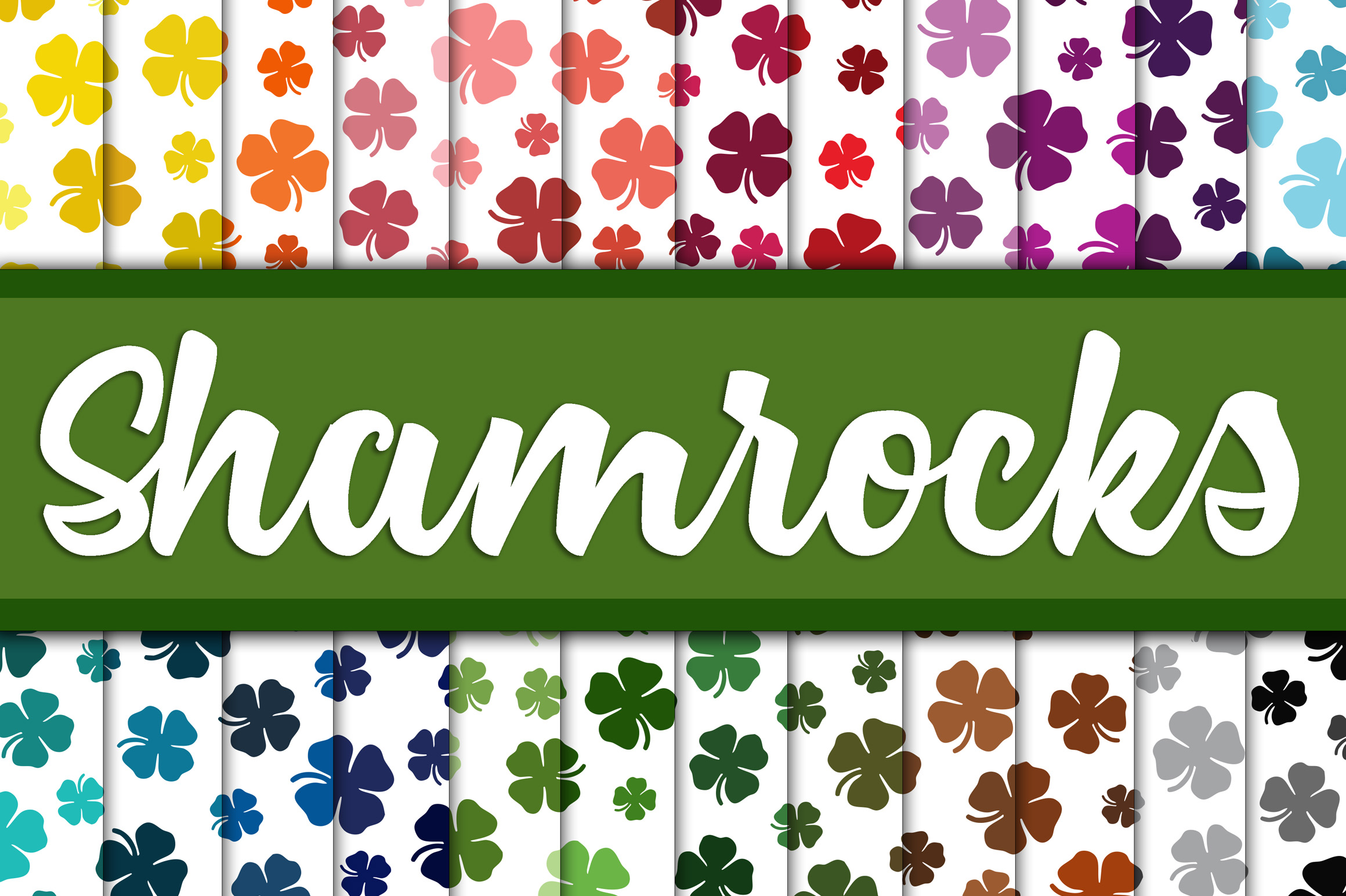 Shamrock Digital Paper - St Patrick's Day Backgrounds example image 1