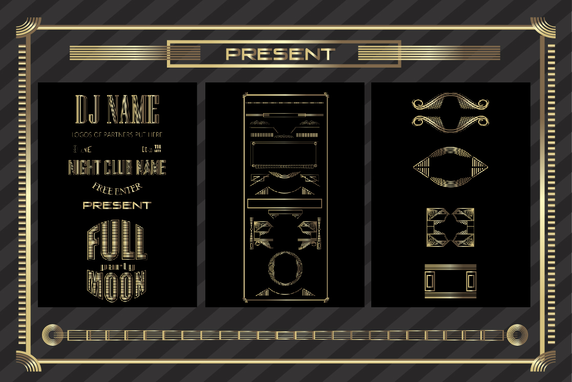 Fullmoon party art deco design. example image 2