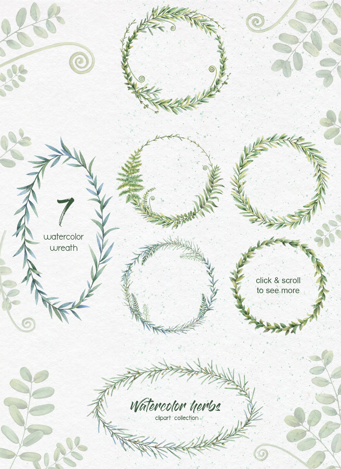 Watercolor herbs. Clipart collection example image 6