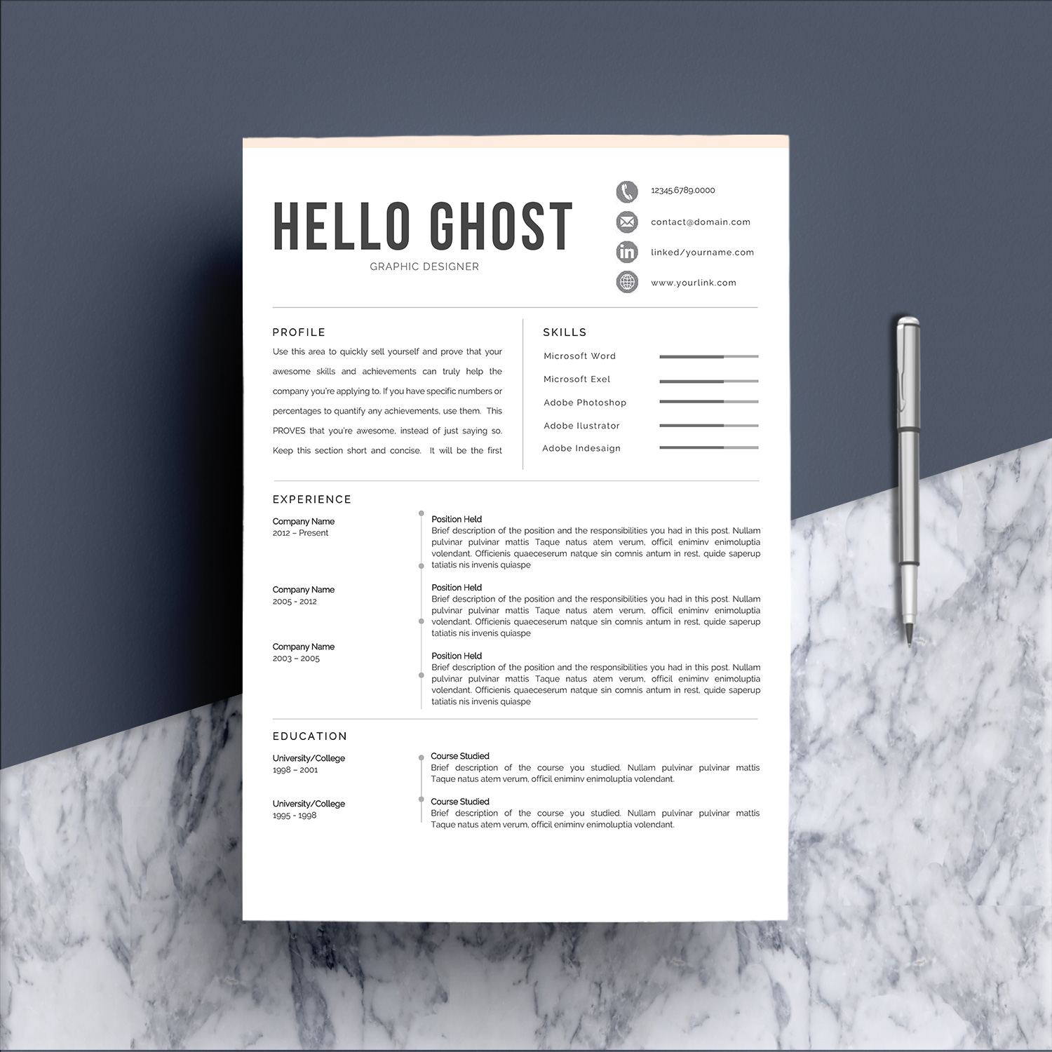 Modern Resume Template 4 Pages Design example image 2