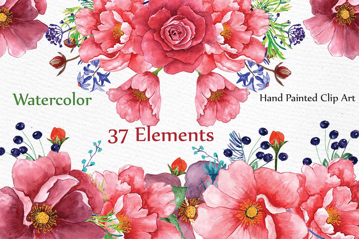 Watercolor peonies clip art example image 1
