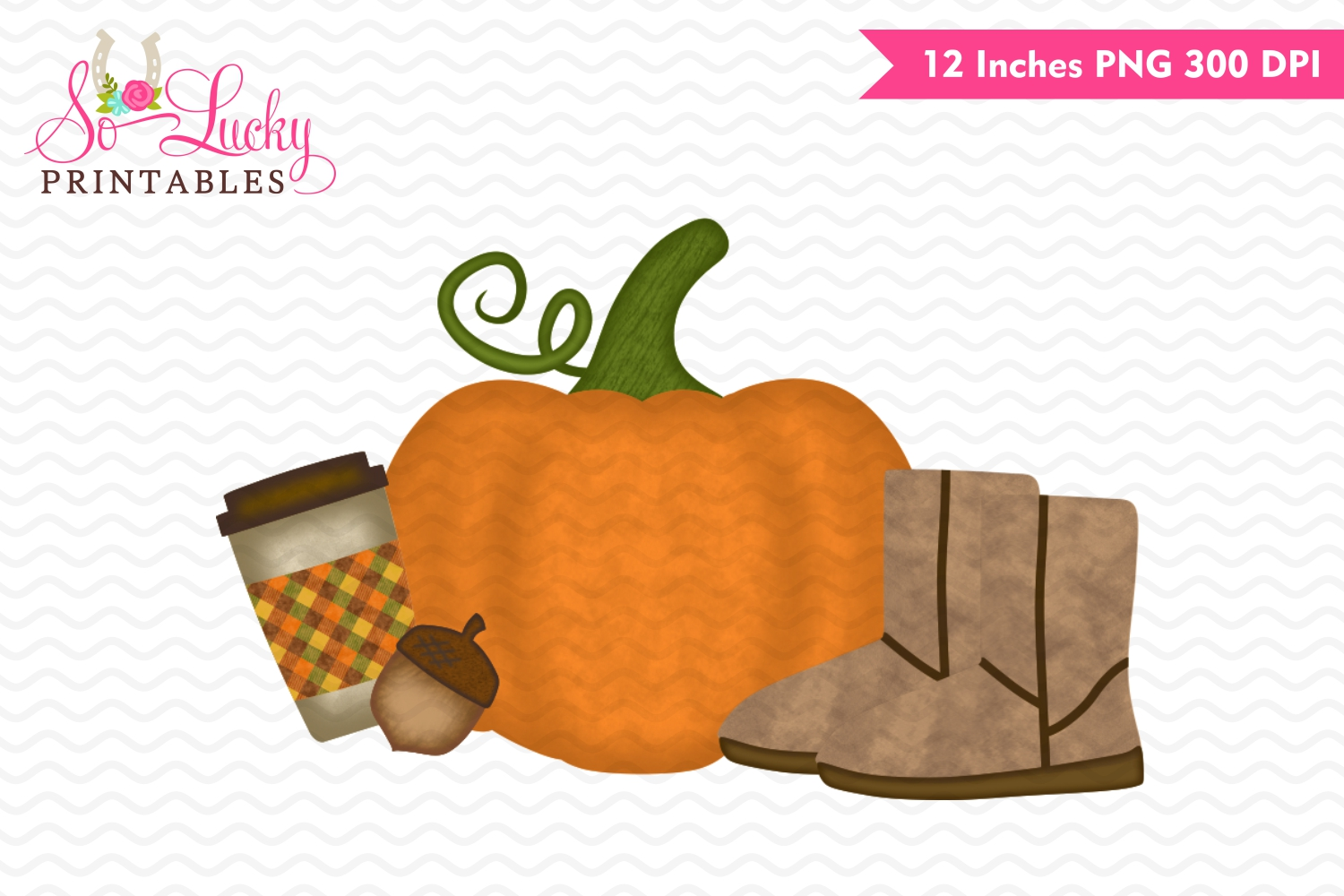 Pumpkin and boots fall watercolor printable sublimati example image 1