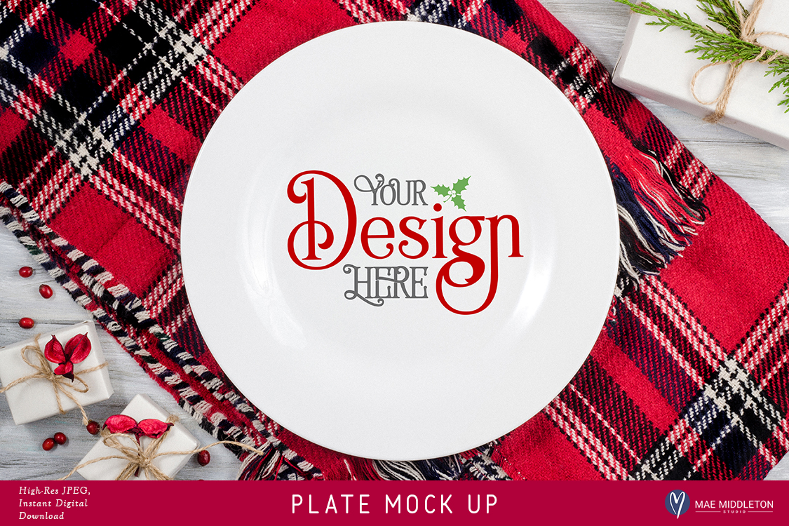 Plate Mock up for Christmas, Holiday styled stock photo example image 1