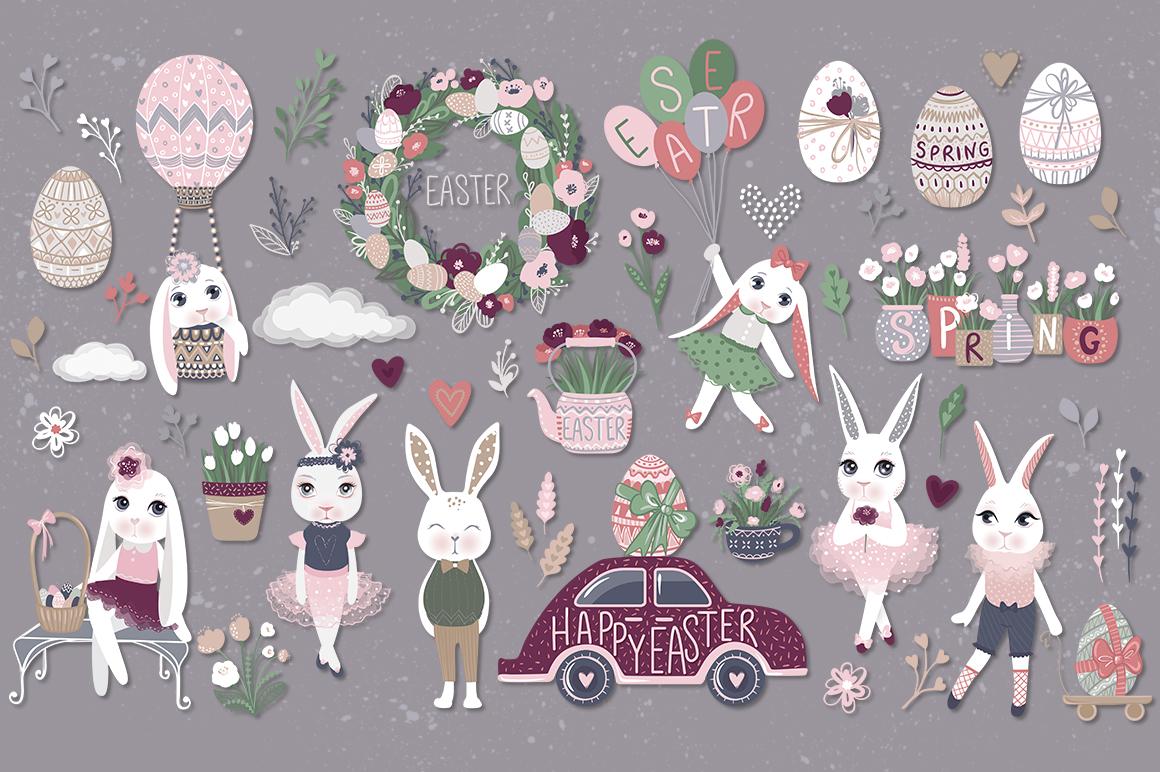 Happy Easter. Bunnies, eggs, flowers example image 5