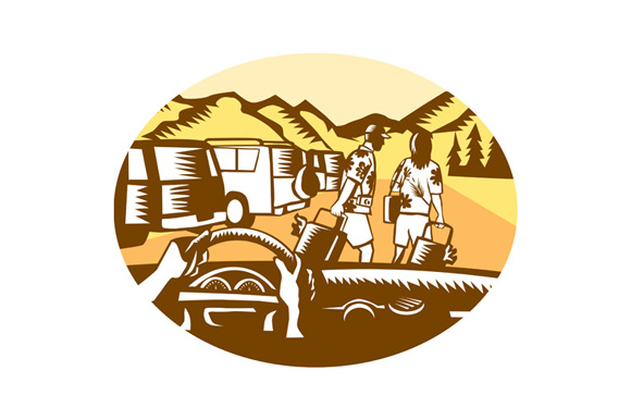 Hands on Wheel Tourist Mountain Oval Woodcut example image 1
