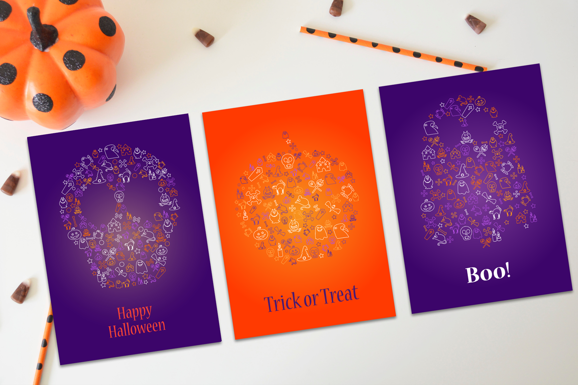 Happy Halloween Silhouette Banners Set example image 4