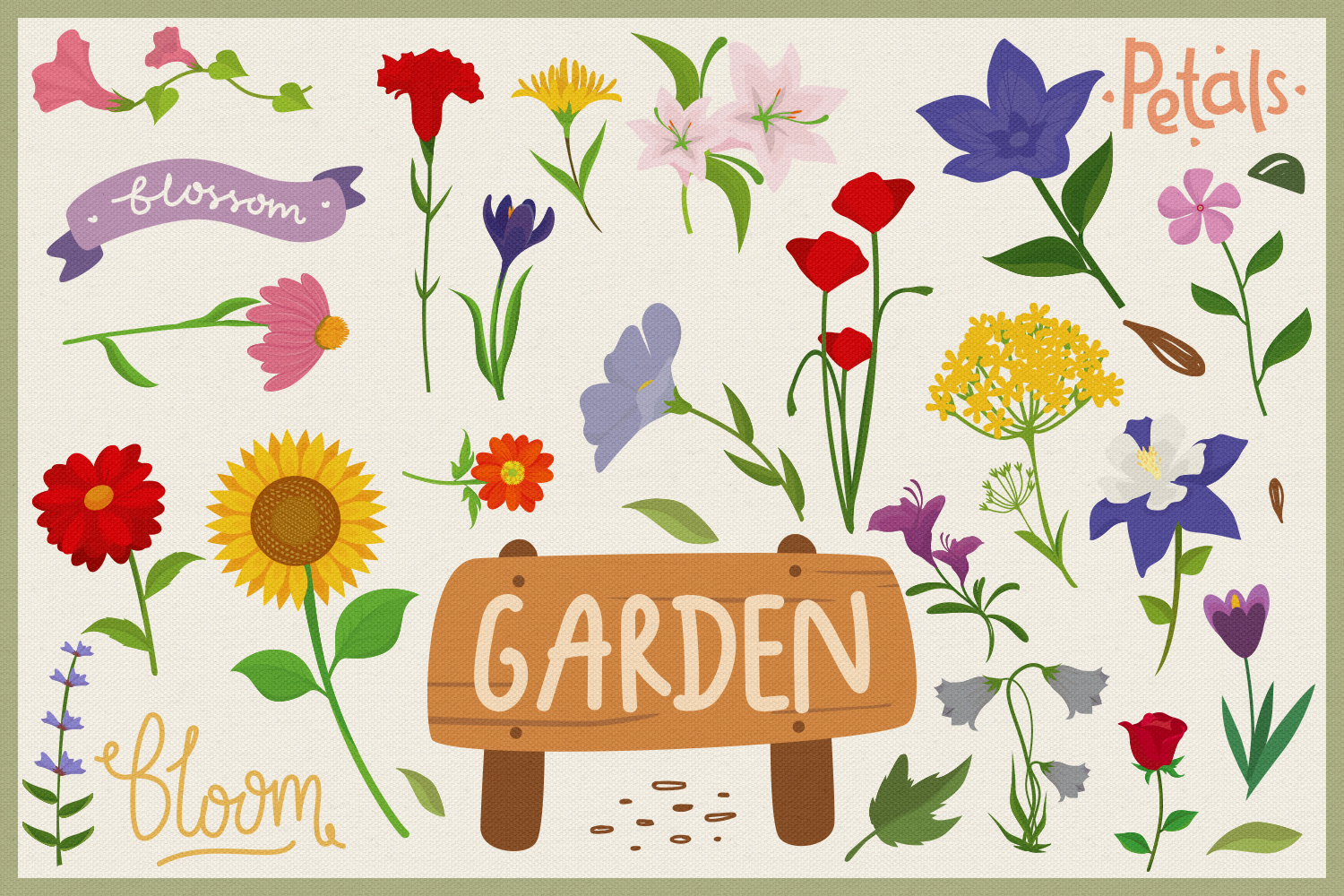 80 Flower Lover Vector Clipart & Seamless Patterns example image 3