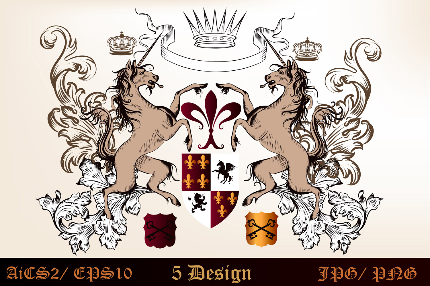 Heraldic bundle of detailed of shields  example image 2