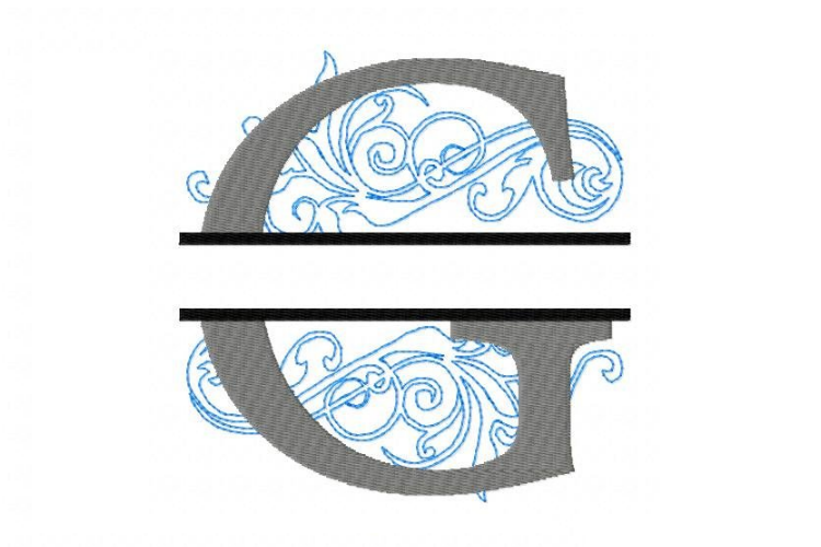 Embroidery Fonts Split Monogram, Monogram G, 4X4 5X7 6x10 example image 3