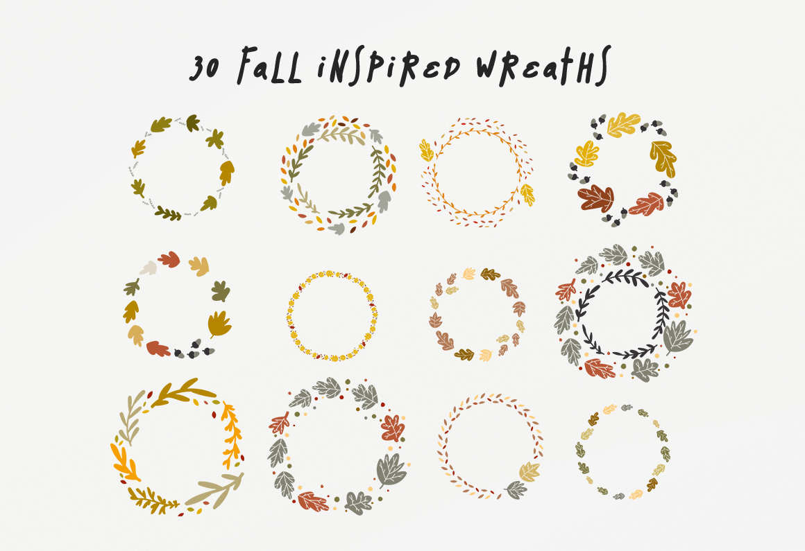 30 Fall Wreaths Vector Pack example image 3