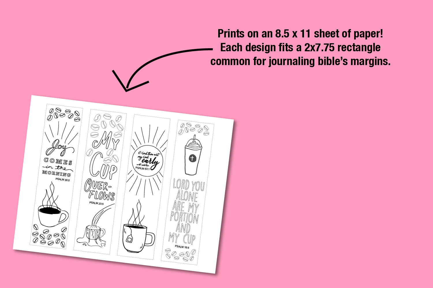 Printable Coloring page Coffee Themed Bible Verses example image 3