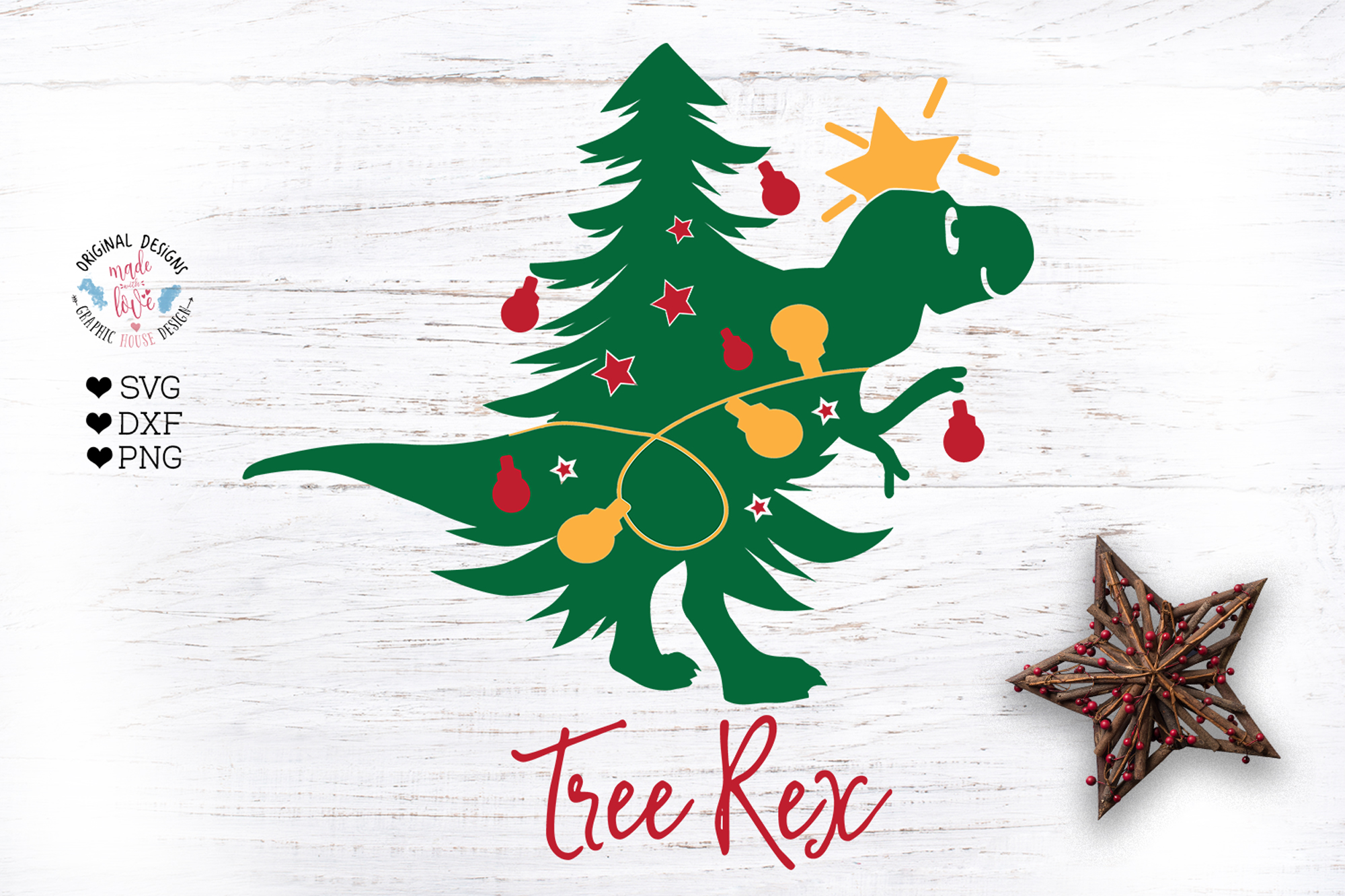 Tree Rex - Christmas Kids T-Shirt Cut File example image 2