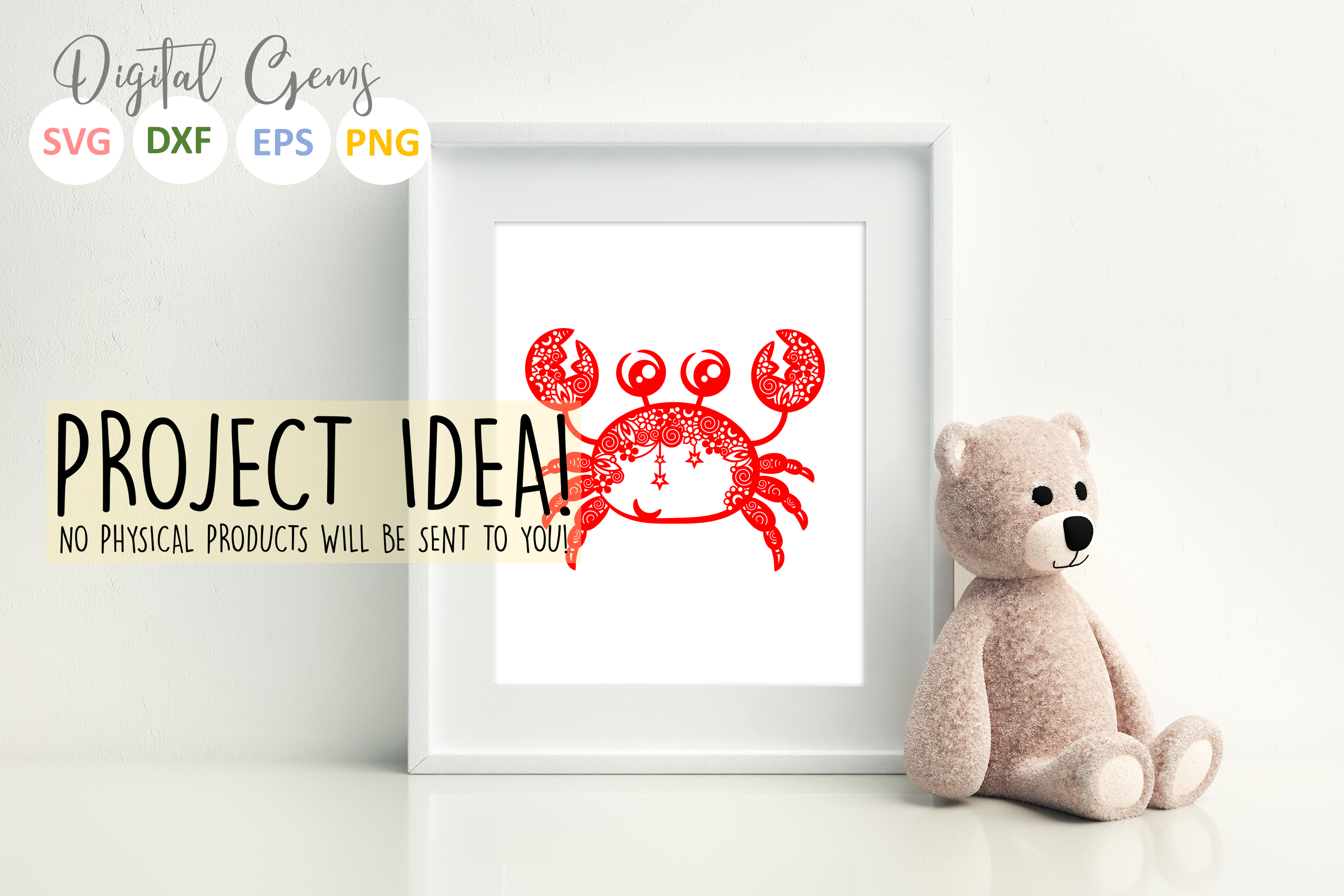 Crab paper cut SVG / DXF / EPS files example image 2