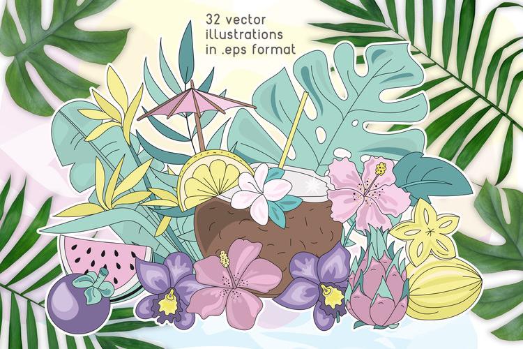 MERMAID VACATION Glitter Vector Illustration Set example image 3
