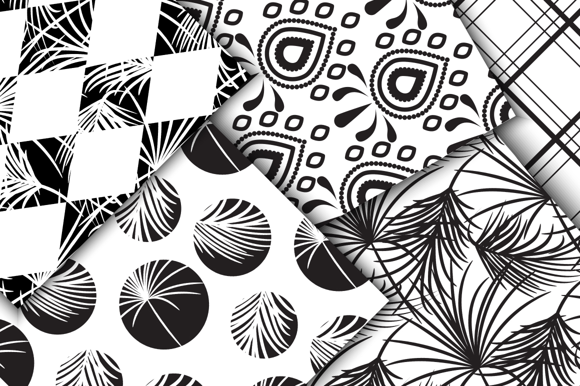Black & White Seamless Patterns example image 3