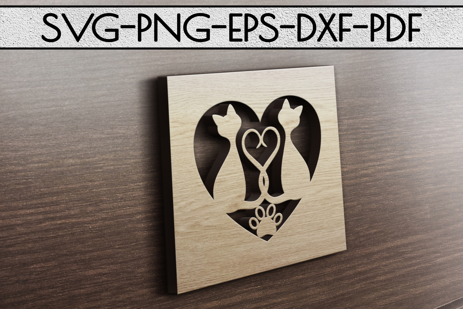 Cat In Love Papercut Template, Cat Lover Decor, SVG, DXF PDF example image 3