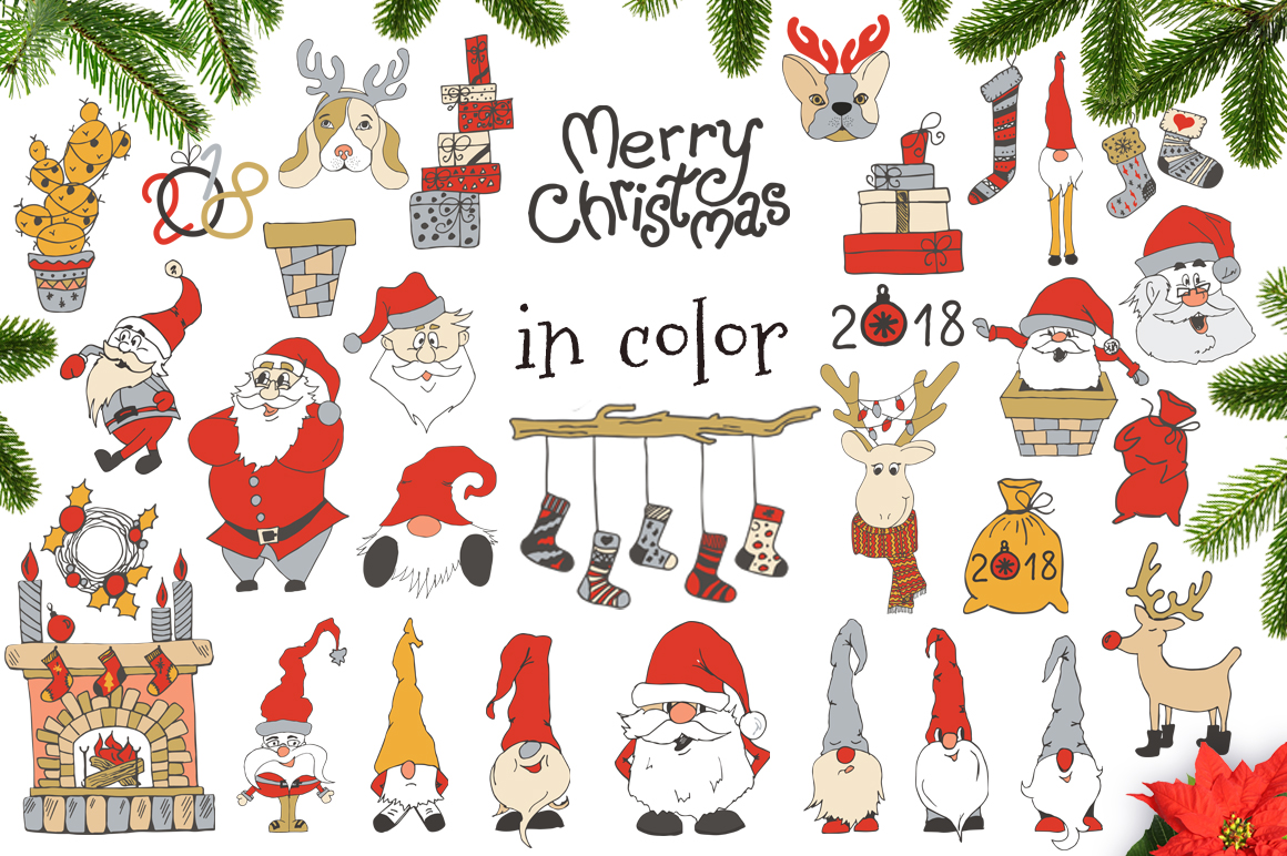 Merry Christmas decoration Set with cute Santa SVG Cut files example image 6